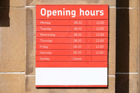 Business shop opening and closed times in hours and days