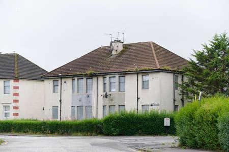 Derelict abandoned council house in poor housing crisis ghetto estate slum Paisley