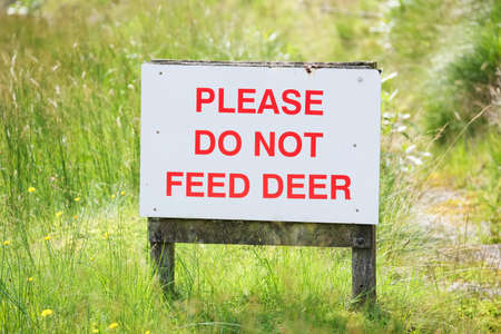 Do not feedd wild deer sign at Glen Etive Scotland Stock Photo