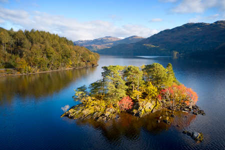 Loch Lomond aerial view at Autumn during sunrise near Tarbet