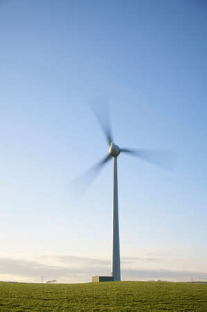 Wind Turbine and clear blue sky in Ayrshire Scotland Stock Photo