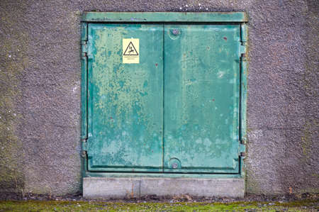 Plant room door and high voltage danger sign