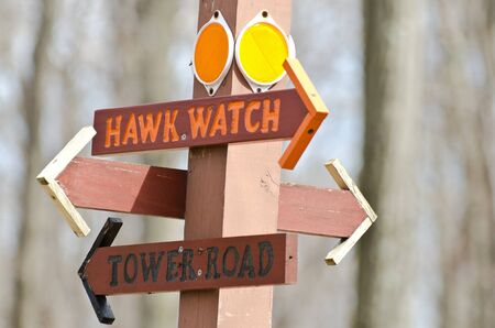 Directional Sign Pointing Way To The Hawk Watch Stock Photo - 13359875