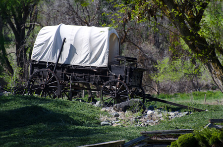 covered wagon: Covered Wagon in the Wilderness