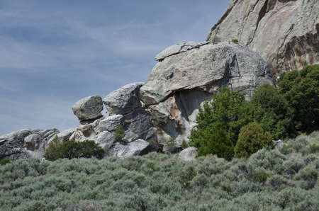 formations: Granite Formations in the City of Rocks Stock Photo