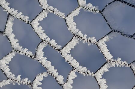 fencing wire: Nature Abstract: Wire Fencing Frost Covered and Freezing in Winter Stock Photo