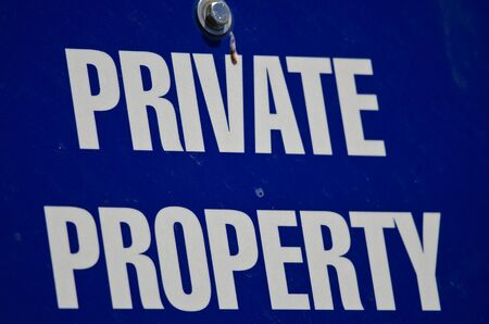 private property: Blue and White Private Property Sign