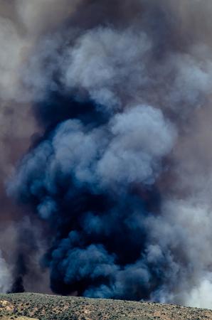 Dense Black Smoke Rising from the Raging Wildfire