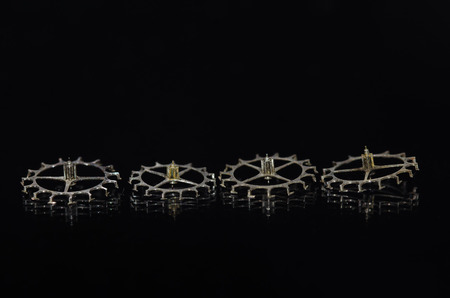 escapement: Watch Parts: Four Vintage Metallic Escape Wheel for Cylinder Escapement