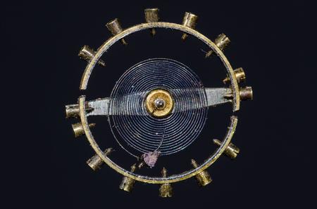 Watch Repair: Vintage Pocket Watch Hairspring Suspended in Midair Banco de Imagens