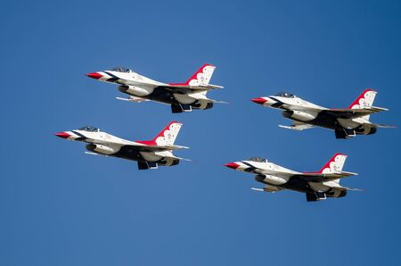 Boise, Idaho, USA – October 15, 2017.  United States Air Force Thunderbirds performing at the Gowen Thunder airshow on October 15, 2017.
