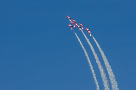 Boise, Idaho, USA – October 15, 2017.  Canadian Forces Snowbirds performing at the Gowen Thunder airshow on October 15, 2017. Editorial