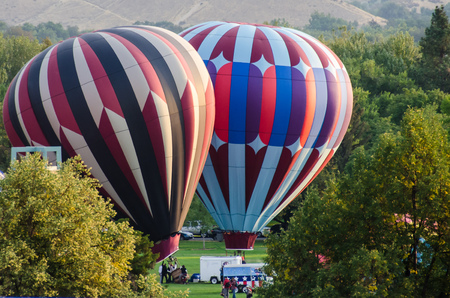 Hot Air Balloons Being Inflated to Prepare for an Early Morning Launch