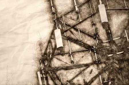 Sketch of a Communications Tower High Overhead Reklamní fotografie