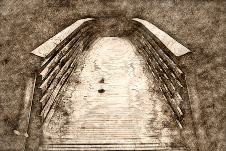 Sketch of a Footbridge in the Marsh Banco de Imagens