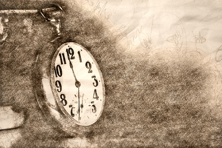 Sketch of Vintage Golden Pocket Watch Resting on a Wooden Table 版權商用圖片