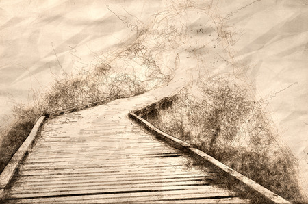 Sketch of  Fog at the End of a Wooden Walkway Archivio Fotografico - 117487063