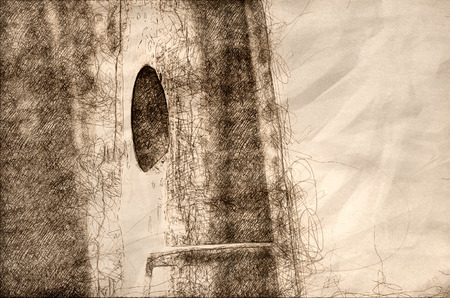 Nature Abstract: Sketch of a Close Look at a Wooden Birdhouse