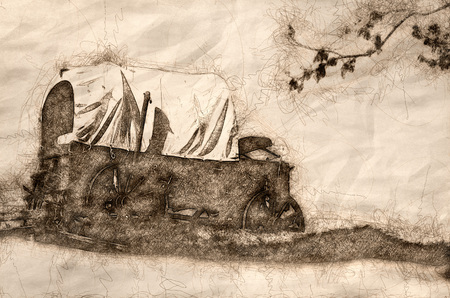 Sketch of a Covered Wagon At The Edge Of The Desert