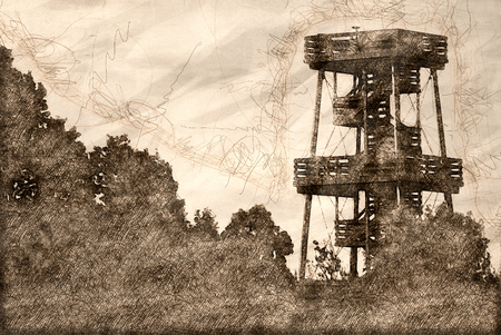 Sketch of an Observation Tower Standing Above the Trees Stock fotó