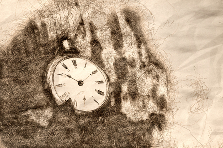 Sketch of the Relentless and Unstoppable Passage of Time Stock Photo