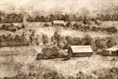 Sketch of the Peaceful Farmlands on a Summer Morning Фото со стока