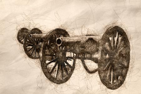 Sketch of Three American Civil War Cannon