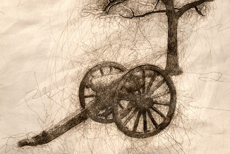 Sketch of an American Civil War Cannon and Nearby Tree