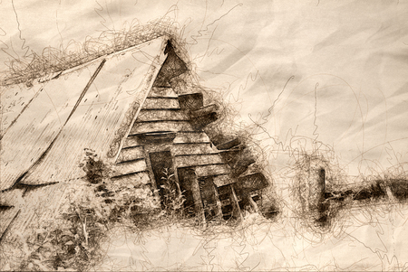 Sketch of the Lonely Ruins of a Building in the Forest