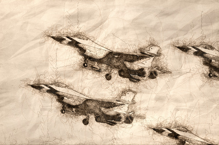 Sketch of a Four Military Fighter Jets Flying in Tight Formation