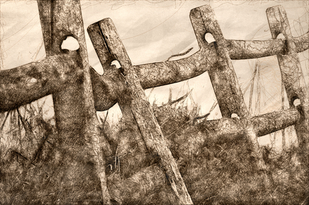 Sketch of Wooden Rail Fence on a Foggy Spring Morning Фото со стока
