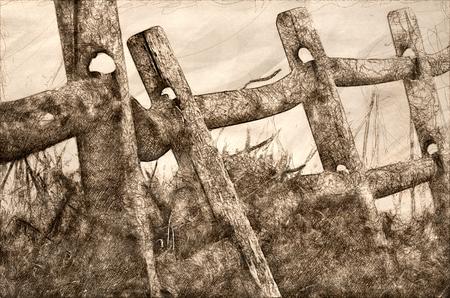 Sketch of Wooden Rail Fence on a Foggy Spring Morning Reklamní fotografie
