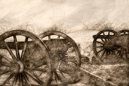 Sketch of Two American Civil War Cannon Imagens
