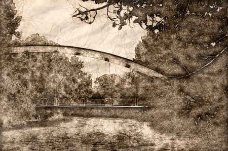 Sketch of a Red Bridge Extending Over the River Archivio Fotografico - 118000729