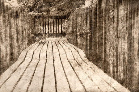 Sketch of  Walking Along Summer's Wooden Garden Walkway Banco de Imagens - 118000730