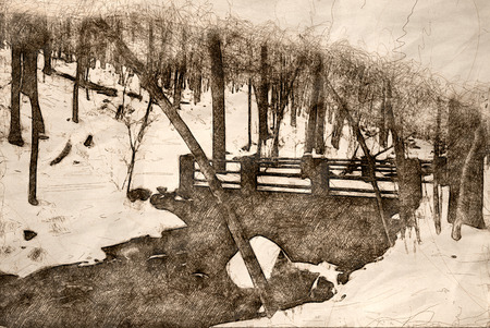 Sketch of a Footbridge Over A Winter Creek