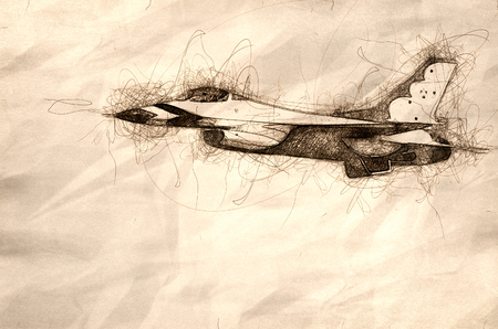 Sketch of a Military Fighter Jet Passing By