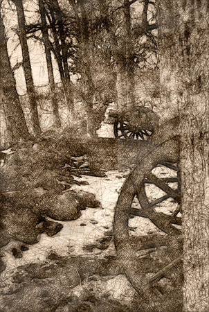 Sketch of an American Civil War Cannon Hidden in the Trees Фото со стока