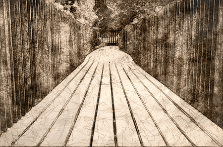Sketch of Walking Along Summer's Wooden Garden Walkway Banco de Imagens - 118000780