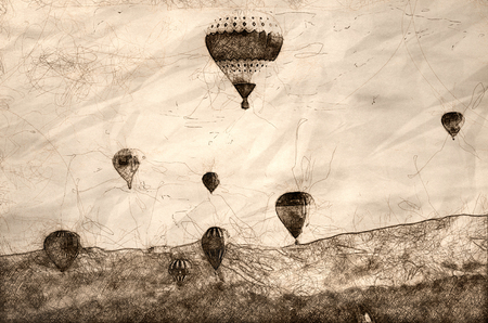 Sketch of an Early Morning Launch of Hot Air Balloons 스톡 콘텐츠