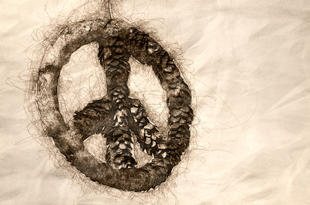 Sketch of a Frozen Peace Sign Against a Light Background Stock fotó