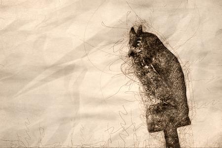 Sketch of an Artificial Owl Keeping Watch Reklamní fotografie