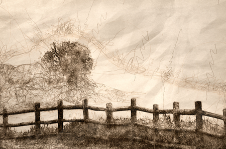 Sketch of a Foggy Morning on the Summer Lake