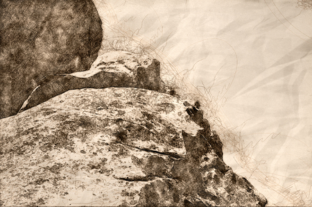 Sketch of a Granite Formation in the City of Rocks Stok Fotoğraf