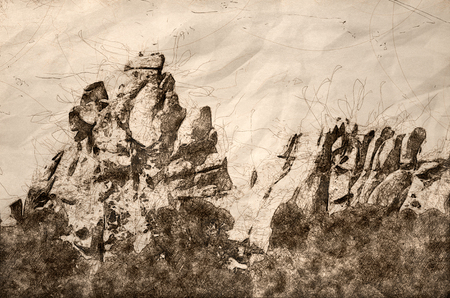 Sketch of Granite Formations in the City of Rocks 写真素材