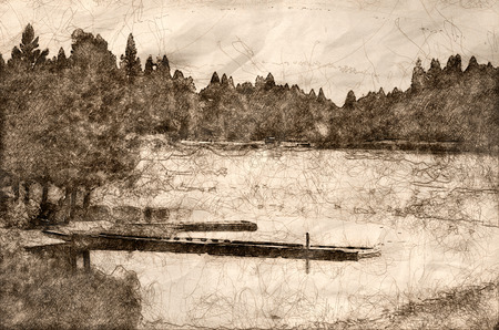 Sketch of a Restful Summer Lake
