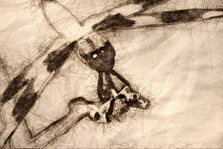 Sketch of a Dragonfly Perched on End of Twig Zdjęcie Seryjne