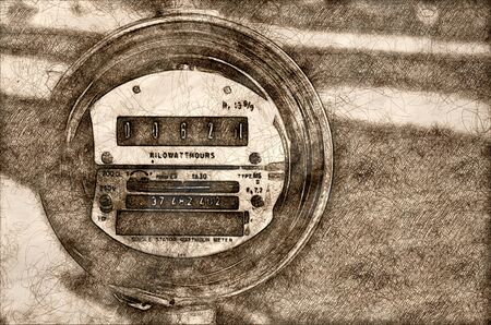 Sketch of Electric Meter Displaying Current Power Consumption