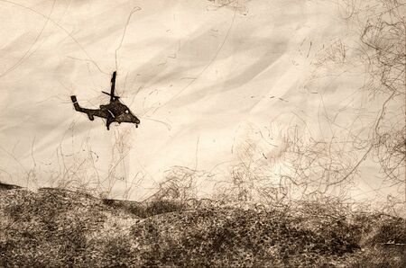 Sketch of a Helicopter Flying Toward the Dense White Smoke Rising from the Raging Wildfire