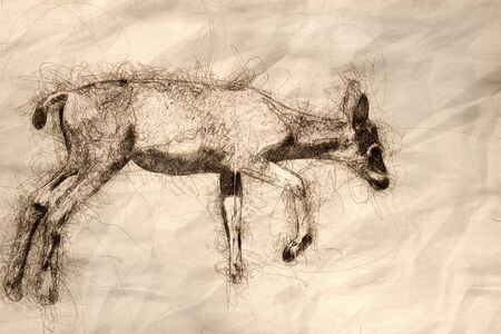 Sketch of a Young Buck Deer Making Its Way Up the Grassy Hill